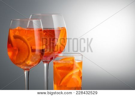 Trendy Popular Italian Drink Summer Refreshing Faintly Alcoholic Cocktail Aperol Spritz In A Glass G