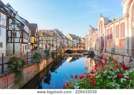 Canal Of Colmar, In Beautiful Old Town Of Alsace, France