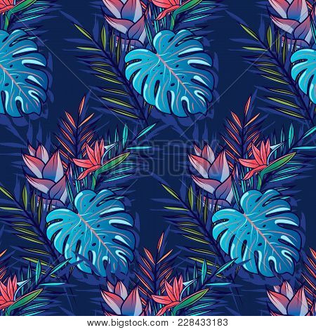 Seamless Tropical Pattern With Palms, Monstera Leaves, Hibiskus, Other Tropic Flowers And Geometry R