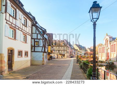 Street Of Colmar, Most Famous Old Town Of Alsace, France