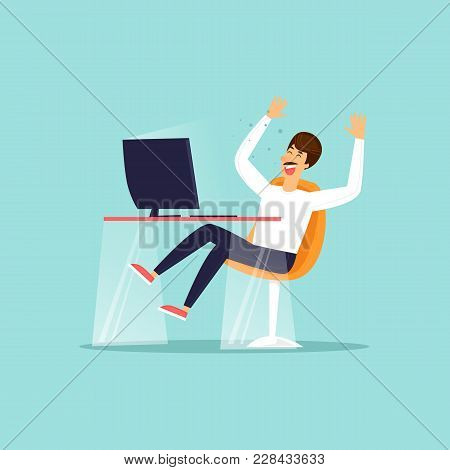 Businessman Rejoices. Business Characters. Co Working People, Meeting, Teamwork, Collaboration And D