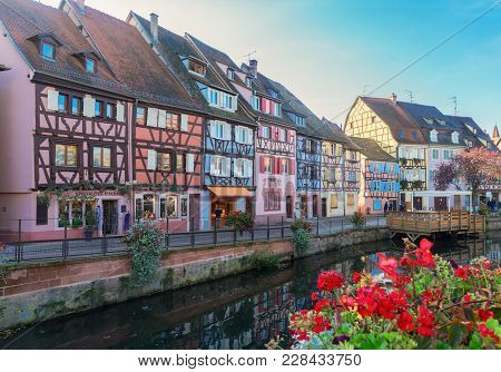 Street With Canal Of Colmar, Most Famous Town Of Alsace, France