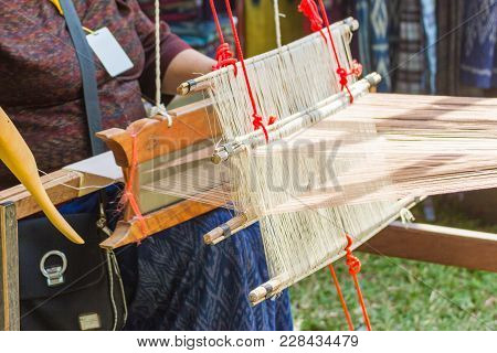 Household Loom Weaving - Detail Of Weaving Loom For Homemade Silk Or Textile Production Of Thailand