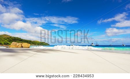Paradise Beach.white Sand,turquoise Water,palm Trees At Tropical Beach,seychelles 35