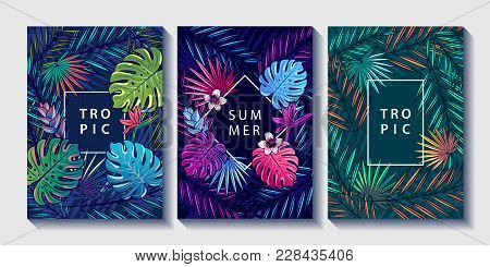 Tropical Leaves And Flowers Design Posters Set. Palm, Monstera Leaves, Strelitzia And Hibiskus Flowe