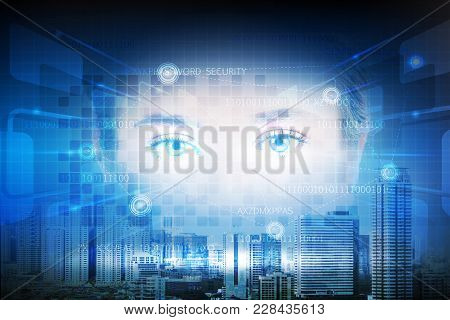 Futuristic Technology Of User Interface By Iris Of The Eye With Double Exposure Of Cityscape, Busine