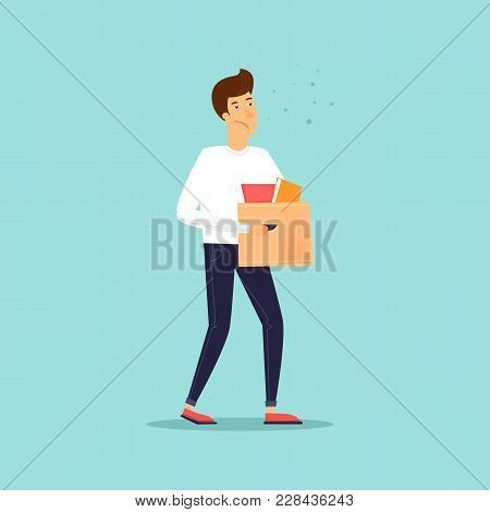 Man Carries A Box Of Things. Business Characters. Dismissal. Office Life. Flat Design Vector Illustr