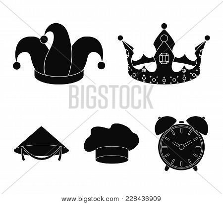 Crown, Jester's Cap, Cook, Cone. Hats Set Collection Icons In Black Style Vector Symbol Stock Illust