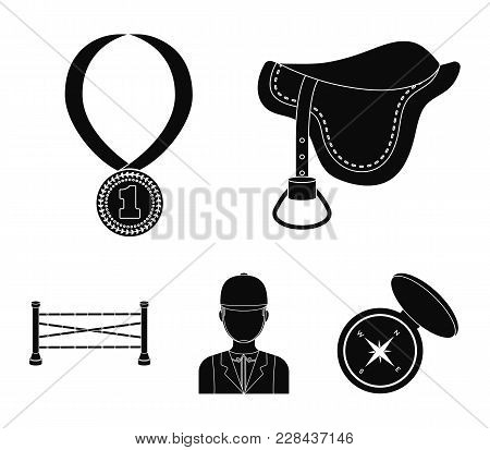 Saddle, Medal, Champion, Winner .hippodrome And Horse Set Collection Icons In Black Style Vector Sym