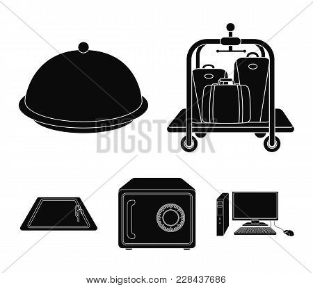 Trolley With Luggage, Safe, Swimming Pool, Clutch.hotel Set Collection Icons In Black Style Vector S