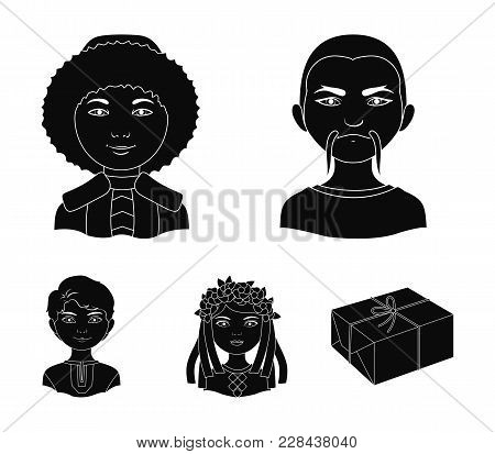 Chinese, Ukrainian, Russian, Eskimo. Human Race Set Collection Icons In Black Style Vector Symbol St