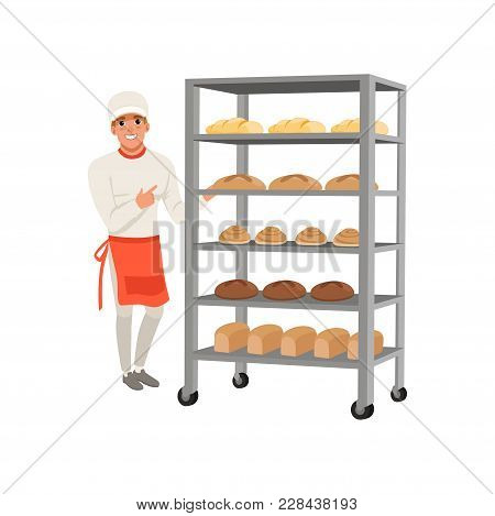 Smiling Baker Character Standing Near Bread Rack With Freshly Baked Bread Vector Illustration Isolat
