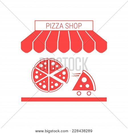 Pizza Shop, Pizzeria Single Flat Icon. Striped Awning And Signboard. A Series Of Shop Icons. Vector