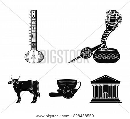 Country India Black Icons In Set Collection For Design.india And Landmark Vector Symbol Stock  Illus