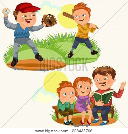 Set Happy Fathers Day Greeting Card, Dad Fun With Kids, Parent Read Book For Childrens In Park Woode