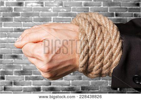 Business Tied Man Hands Businessman Rope Tie
