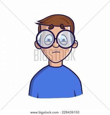 Upset Boy With Glasses Looking Puzzled. Isolated Flat Illustration On White Backgroud, Cartoon Vecto