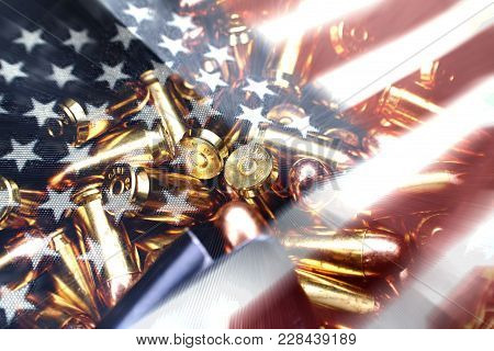 American Flag With 45 Auto Bullets High Quality Stock Photo