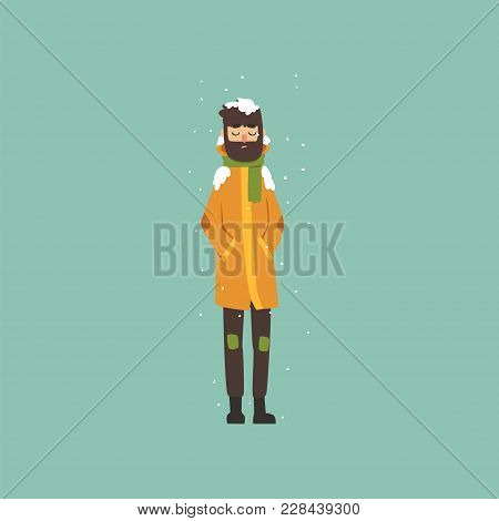 Bearded Man In Warm Clothes Freezing And Shivering On Winter Cold Vector Illustration, Flat Style
