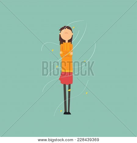 Girl Freezing And Shivering On A Very Windy Day Outdoors Vector Illustration, Flat Style