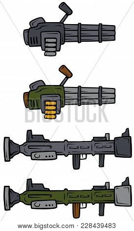 Cartoon Machine Guns And Bazooka Isolated On White Background. Vector Weapons Firearms Icons.