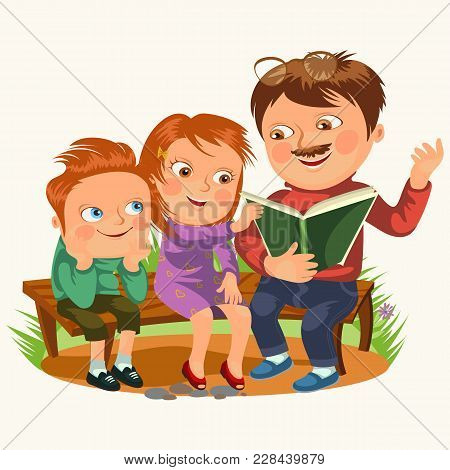 Dad Read Book For Childrens In Park Wooden Bench, Family Kids Reading Fairy Tales, Little Boy And Gi