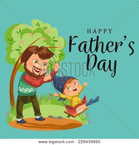 Son And Daughter Care Disable Parent, Dad Sitting In Wheelchair, Happy Fathers Day Background, Senio