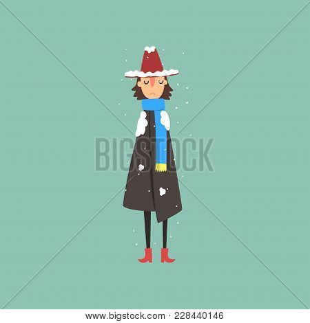 Young Woman In Warm Coat, Scarf And Hat Freezing And Shivering On Winter Cold Vector Illustration, F