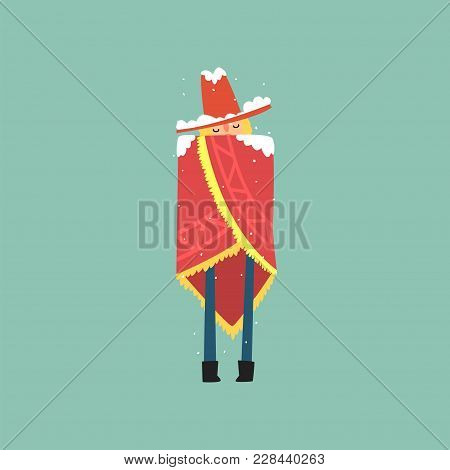 Yong Man In Red Poncho And Hat Freezing And Shivering On Winter Cold Vector Illustration, Flat Style
