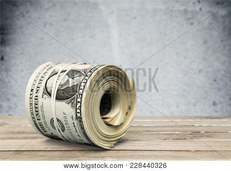 Dollars Roll Green White Background Money Object