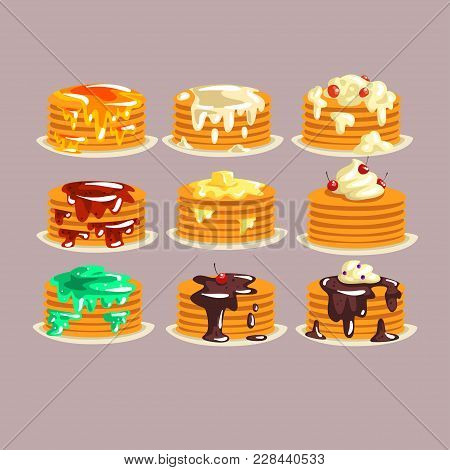 Various Kinds Of Pancakes With Different Ingredients, Traditional Breakfast Food With Berries, Syrup