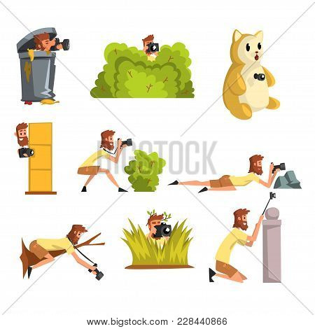 Paparazzi photographers hiding with photo camera set, journalists making sensational shot vector Illustrations isolated on a white background. poster