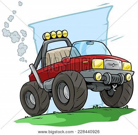 Cartoon Big Red Off Road Monster Truck On Blue Background. Vector Icon.
