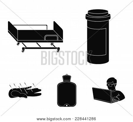 Heating Pad, Hospital Gurney, Acupuncture.mtdicine Set Collection Icons In Black Style Vector Symbol