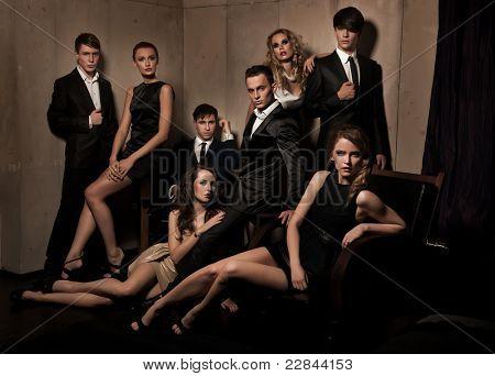Group of elegant people