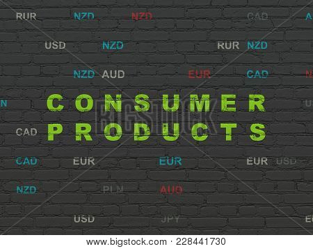 Finance Concept: Painted Green Text Consumer Products On Black Brick Wall Background With Currency