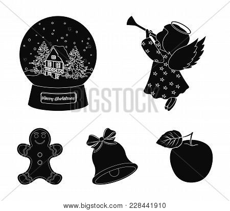 Angel, Glass Bowl, Gingerbread And Bell Black Icons In Set Collection For Design. Christmas Vector S