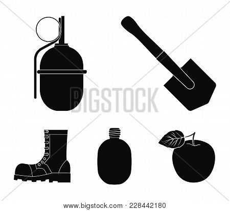 Sapper Blade, Hand Grenade, Army Flask, Soldier's Boot. Military And Army Set Collection Icons In Bl