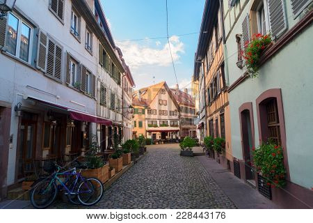 Street Of Petit France Medieval District Of Strasbourg Old Town, Alsace France