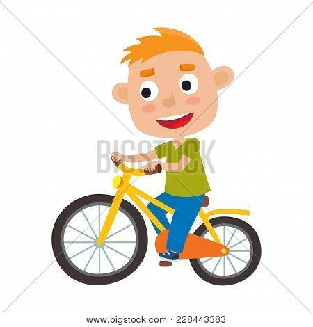 Cartoon Boy Riding A Bike Having Fun Riding Bicycles Isolated On White. Happy Kid Having Fun On Week