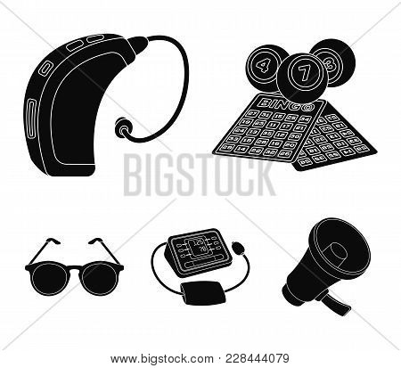 Lottery, Hearing Aid, Tonometer, Glasses.old Age Set Collection Icons In Black Style Vector Symbol S