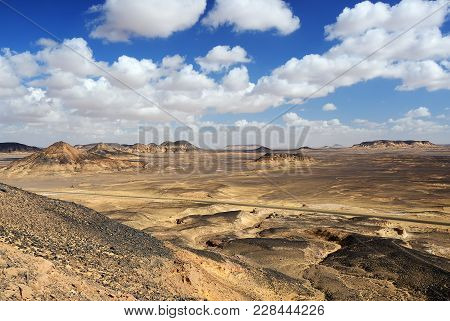 Beautiful Landscape Of The Black Desert In Sahara, Egypt, Africa
