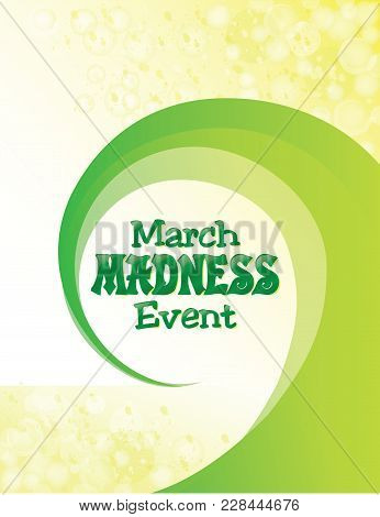March Madness Event Background With Green Swirl