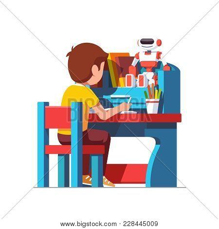 School Or Preschool Kid Boy Studying Sitting At Blue Child Desk. Little Kindergarten Student Doing H