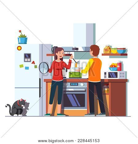 Wife Pouring Freshly Cooked Soup With Ladle Into Bowl That Husband Is Holding. Woman Feeding Man. Fa