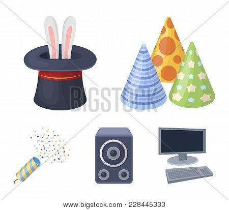 Tricks, Music And Other Accessories At The Party.party And Partits Set Collection Icons In Cartoon S