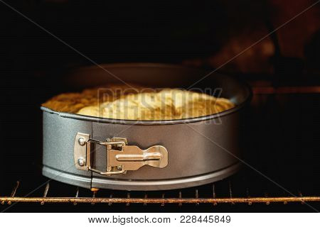 Charlotte, Biscuit, Pastry, Cake In Form In The Oven. Fresh Pastries In Processes. Shallow Depth Of