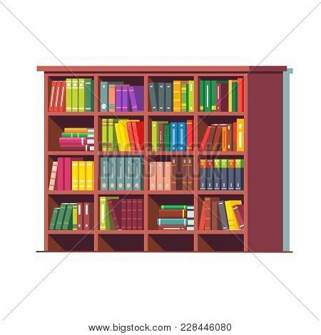 Big Library Wooden Bookcase Full Of Stacked Books Standing On Bookshelves. Flat Style Vector Illustr