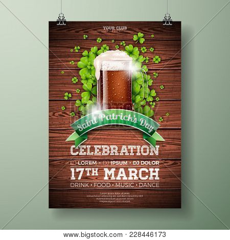 Saint Patrick's Day Party Flyer Illustration With Fresh Dark Beer And Clover On Wood Texture Backgro