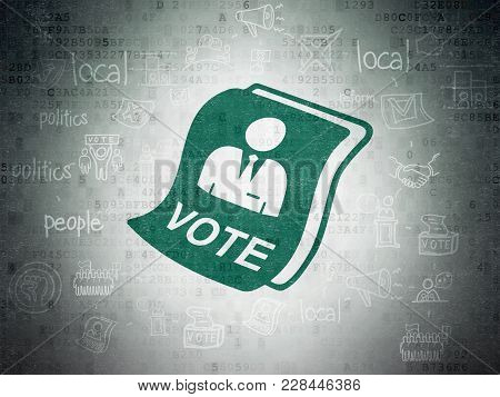 Political Concept: Painted Green Ballot Icon On Digital Data Paper Background With Scheme Of Hand Dr